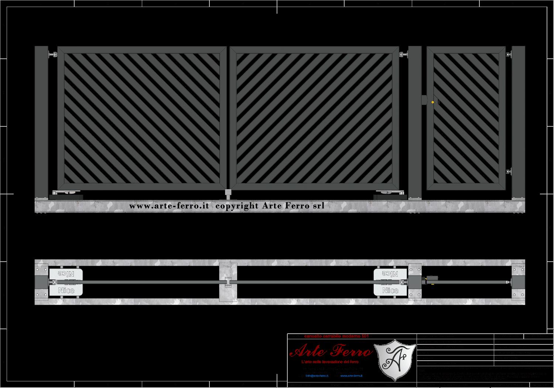 Cancello In Ferro Moderno.Cancello In Ferro Zincato Moderno 501 A Doghe Diagonali